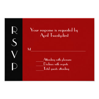 All Purpose Red and Black RSVP Response Card Personalized Announcements