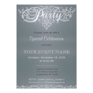 All Purpose | Silver Glow 5x7 Paper Invitation Card