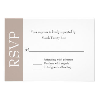 All Purpose Taupe White RSVP Card