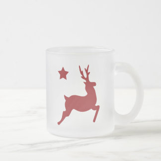 All Red Reindeer & Star 10 Oz Frosted Glass Coffee Mug