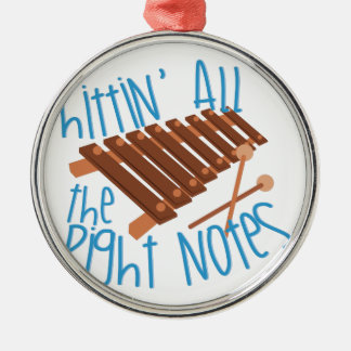 All Right Notes Round Metal Christmas Ornament