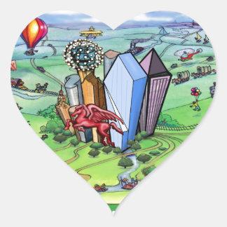 All Roads lead to Dallas Texas Heart Sticker