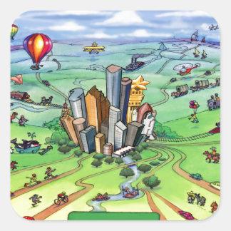 All Roads Lead to Houston Texas Square Sticker