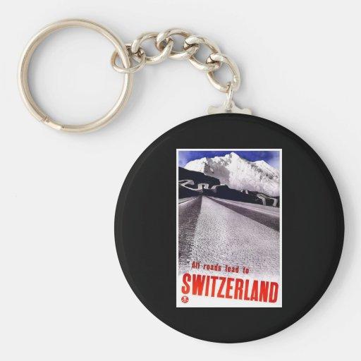 All Roads Lead To Switzerland Basic Round Button Keychain