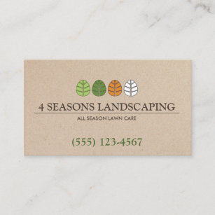All Season Tree And Lawn Service Landscaping Business Card