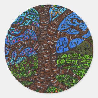 all season tree round sticker