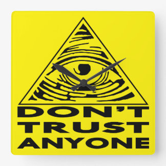 All Seeing Eye Don't Trust Anyone Square Wall Clock