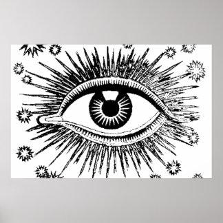All Seeing Eye Mystic Eyeball Hypnosis Occult Poster