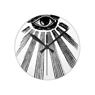All Seeing Eye NWO Illuminati New World Order Round Wallclocks