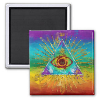 All Seeing Eye Of God - abstract sketchy Art 2 Inch Square Magnet