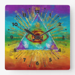 All Seeing Eye Of God - abstract sketchy Art Clocks