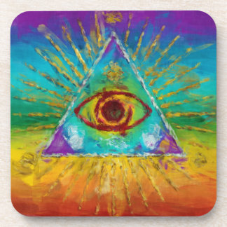 All Seeing Eye Of God - abstract sketchy Art Drink Coasters