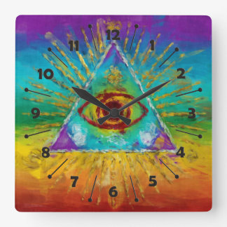 All Seeing Eye Of God - abstract sketchy Art Square Wall Clock