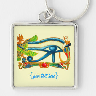 All Seeing Eye Of Horus Good Luck Charm Silver-Colored Square Keychain
