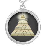 All Seeing Eye Pyramid 2 Round Pendant Necklace