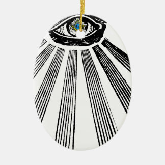 All Seeing Eye Square and Compass Masonic Ceramic Ornament