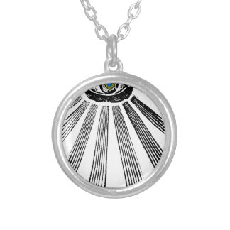 All Seeing Eye Square and Compass Masonic Silver Plated Necklace