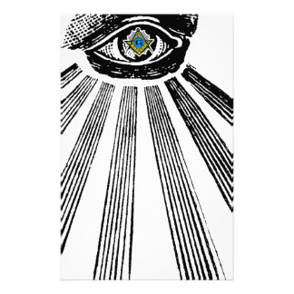 All Seeing Eye Square and Compass Masonic Personalized Stationery