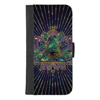 All Seeing Mystic Eye in Lotus Flower iPhone 8/7 Plus Wallet Case
