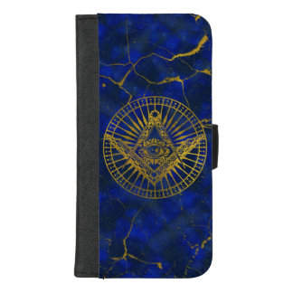 All Seeing Mystic Eye in Masonic Compass on Lapis iPhone 8/7 Plus Wallet Case