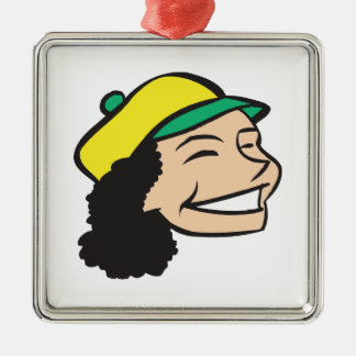 All Smiles Square Metal Christmas Ornament