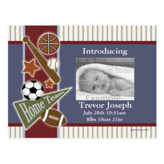 All Sports Baby Annoucement Template Postcard