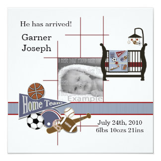 All Sports Baby Photo Annoucement Template Personalized Announcements