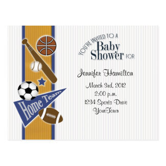 All Sports Baby Postcard Invitation Gold & Blue
