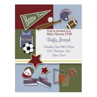 All Sports Baby Shower Template Post Cards