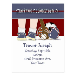 All Sports Birthday Invitation Template Postcard
