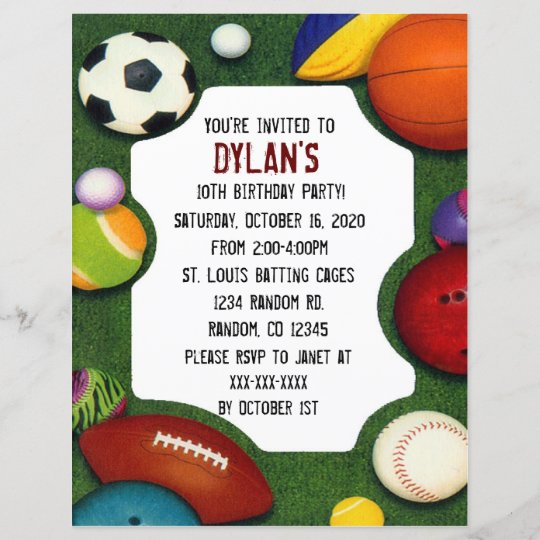 all sports theme birthday party invitations zazzle com