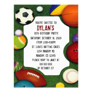 All sports theme birthday party invitations flyer