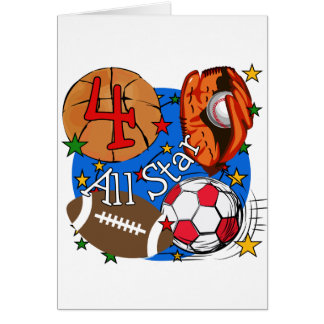 All Star 4th Birthday Tshirts and Gifts Greeting Card