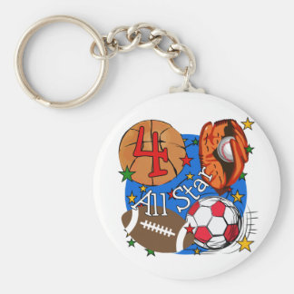All Star 4th Birthday Tshirts and Gifts Keychain
