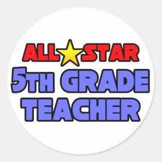 All Star 5th Grade Teacher Round Sticker