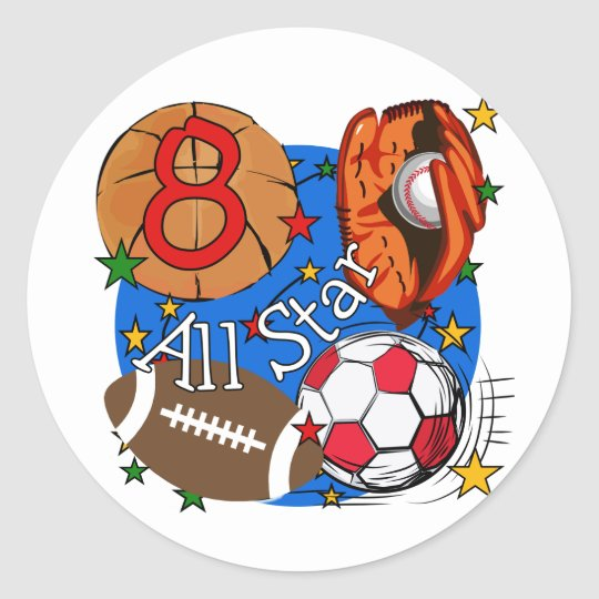 All Star 8th Birthday Tshirts and Gifts Classic Round Sticker