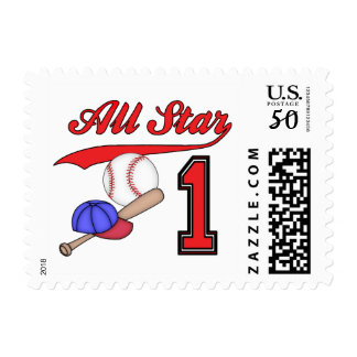 All Star Baseball 1st Birthday Postage
