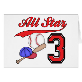 All Star Baseball 3rd Birthday Invitations Stationery Note Card