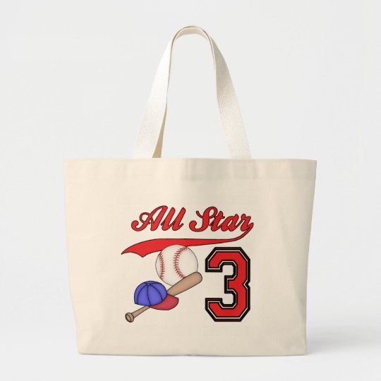 All Star Baseball 3rd Birthday Large Tote Bag