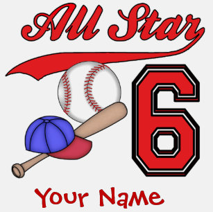 All Star Baseball 6th Birthday Personalized T Shirt