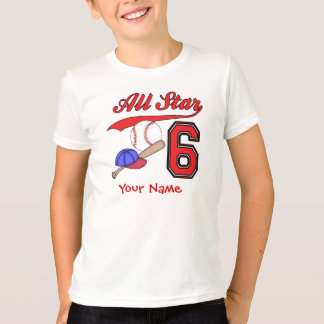 All Star Baseball 6th Birthday Personalized T-Shirt