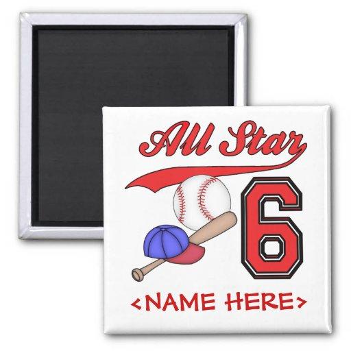 All Star Baseball 6th Birthday Refrigerator Magnet