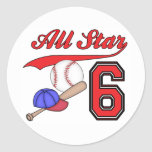 All Star Baseball 6th Birthday Stickers