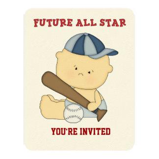 "All-Star Baseball Baby Shower Invitation 4.25"" X 5.5"" Invitation Card"