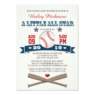 ALL STAR BASEBALL BABY SHOWER INVITATION