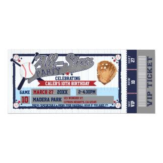 All Star Baseball Party Birthday Ticket Invitation