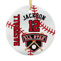 All Star Baseball Player Ceramic Ornament