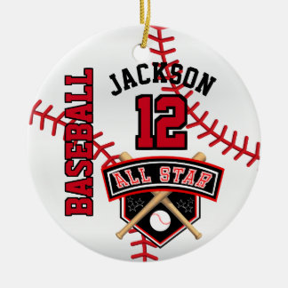 All Star Baseball Player Ceramic Ornament