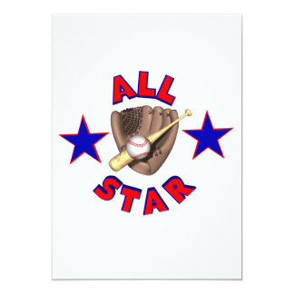 all star baseball player graphic 5x7 paper invitation card