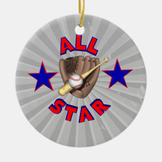 all star baseball player graphic ceramic ornament